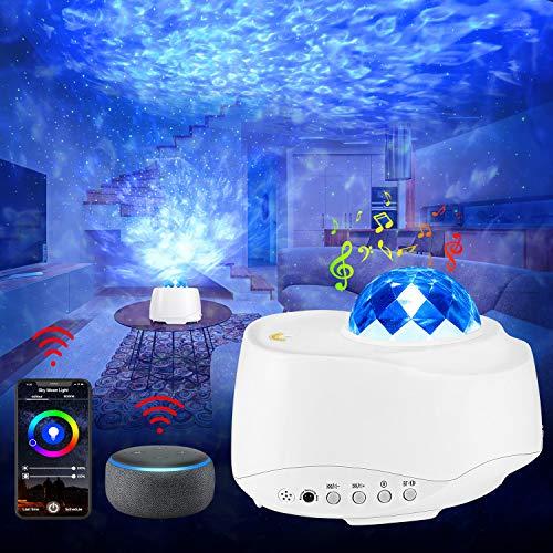 LED Sternenhimmel Projektor mit Alexa Echo, WIFI Smart Sternenlicht Projektor mit Voice Kontrolle / Timer/ APP / Fernbedienung, 4 Farben 27 Modus Projektionslampe für Kinder Erwachsene Weihnachten