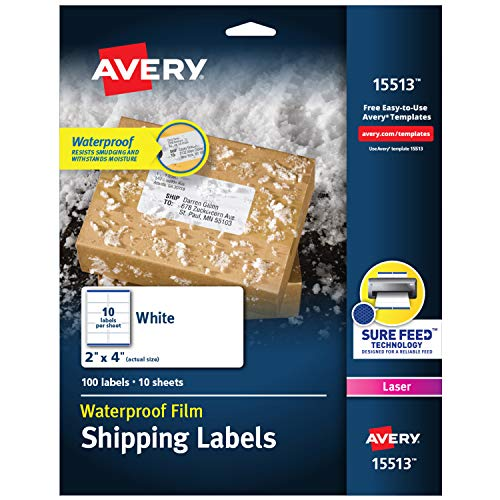 Avery Waterproof Shipping Labels with Sure Feed & TrueBlock 2' x 4', 100 White Labels (15513)