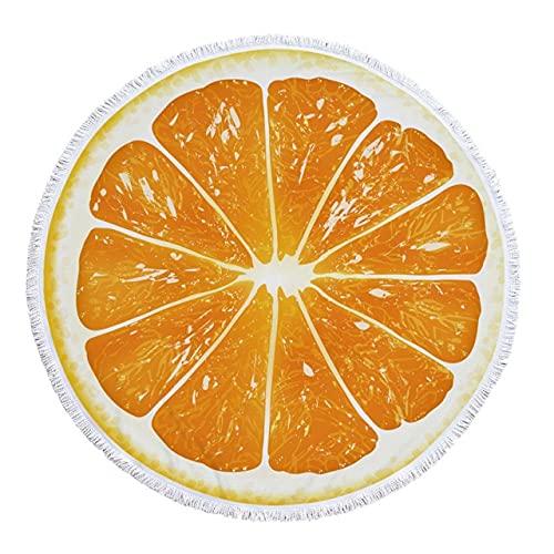 IAMZHL Toalla de Playa Redonda de Microfibra Naranja sandía Toallas de baño Gruesas para Ducha de Frutas Toalla Circular de natación de Verano con borlas-a1-150x150cm