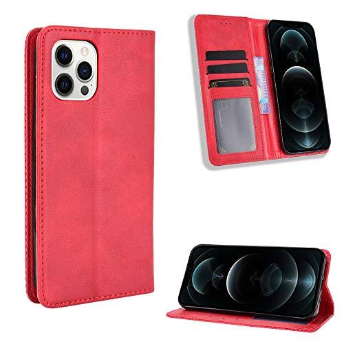 Snow Color iPhone 12 Pro Hülle, Premium Leder Tasche Flip Wallet Case [Standfunktion] [Kartenfächern] PU-Leder Schutzhülle Brieftasche Handyhülle für Apple iPhone 12 Pro 2020 - COBYU011190 Rot