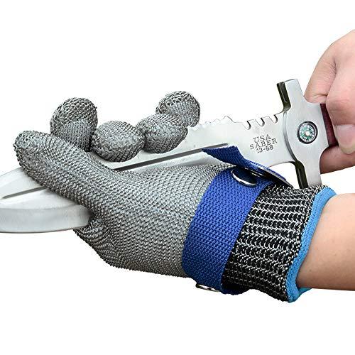Snijbeschermingshandschoen, Stainless Steel Mesh Metal Wire handschoen met gesp - Anti-Cut, gemakkelijk te dragen - voor vlees snijden, snijden, hakken & Peeling,L