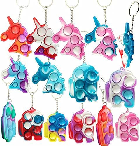 (più spesso) 15 confezioni di mini portachiavi a forma di arcobaleno sensoriale push pop, piccoli e semplici giocattoli a forma di bolla tinto in cravatta, ciondoli decorativi per zaino
