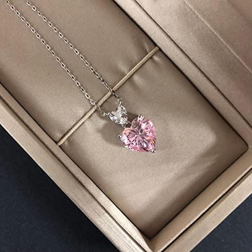 SPACELQ Sparkling Pink Amarillo Corazón Zircon Collar Colgante Elegante Boda Compromiso Partido Joyería para Mujeres Día de San Valentín Presente