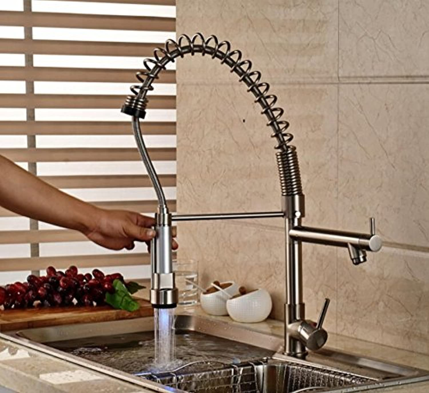 Tw Brushed Nickel Single Lever LED Pull-out Spring Kitchen Faucet with Dual Spout
