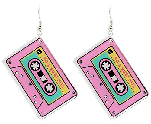 Bluebubble RETRO REWIND Pink Tape Dangle Earrings Gift Boxed