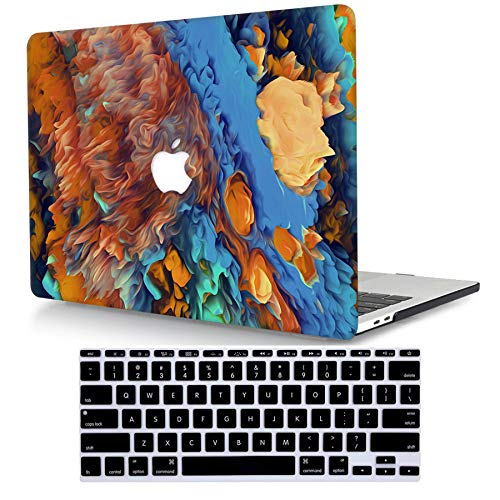 Bandless ACJYX Compatible con MacBook Pro 15 Pulgadas con Pantalla Retina (A1398 Versión Anterior 2015 2014 2013 2012), Carcasa Protectora de Plástico Duro & Piel de Teclado a Juego, Marrón y Azul