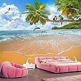 Fotomurales Playa de mar Decoración de Pared decorativos Murales moderna de Diseno Sala de estar Dormitorio Decoración de Oficina,400x280 cm(W x H)