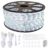 SURNIE Outdoor Rope Lights Waterproof 150ft Led Light Rope 110V 6500k Daylight White Led Strip Lights Cuttable Connectable for Deck Patio, Indoor Outside Use