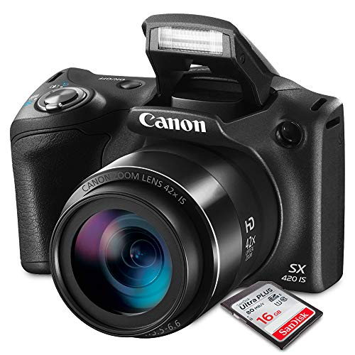 Canon PowerShot SX420 IS (Black) with 42x Optical Zoom and Built-In Wi-Fi Digital Camera & 16GB SDHC + Mini Tripod +AC/DC Turbo Travel Charger + Cleaning pen + Along with a Deluxe Bundle