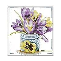 クロスステッチキット DIY 手作り刺繍キット 36x38cm紫色の花瓶半クロスステッチ。 マルチストランド綿糸ニットクロスステッチ刺繍キット