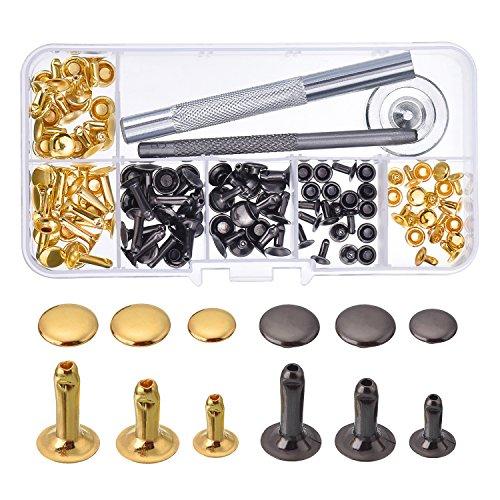 Cap Remaches Tubular de Remache Broches de Metal con Kit de Herramienta de Fijación para Reparaciónes Decoración de Manualidad de Cuero, 3 Tamaños, 60 Sets