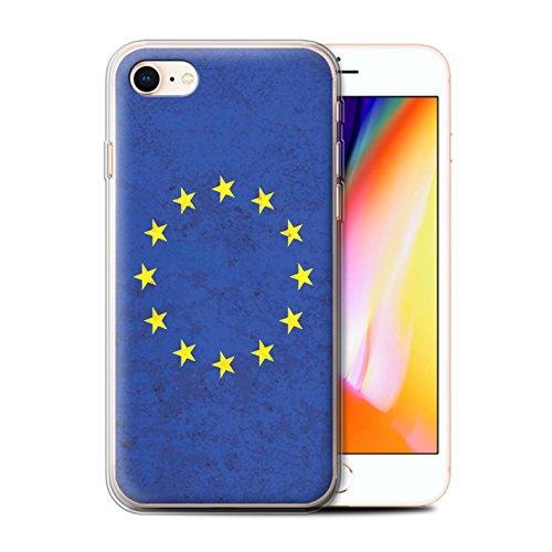 Telefoonhoesje voor Apple iPhone SE 2020 Europese vlag Europese Unie/EU Ontwerp Transparant Heldere Ultra Zachte Flexi Siliconen Gel/TPU Bumper Cover