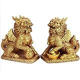 YUNHAO Estatua de latón chino Fengshui Foo Fu Dog Guardion Lion...