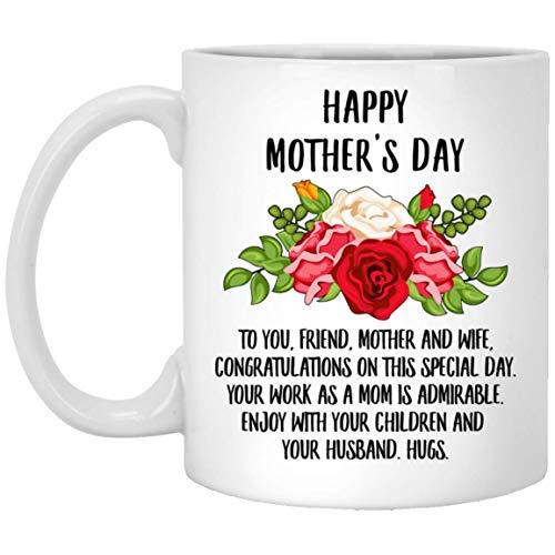 N\A Feliz día de la Madre, Amiga, felicitaciones por Este día Especial, Taza de café con Leche de 11 oz