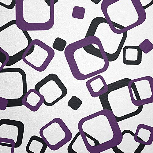 WANDfee® Wandtattoo Vierecke 60 Aufkleber FARBWUNSCH Wandaufkleber Kinderzimmer Fliesenaufkleber Badezimmer Küche lila schwarz