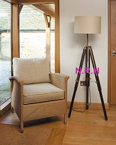 Lámpara de pie con trípode de diseño clásico de estilo marino, estilo retro vintage de madera (con sombra hacia fuera)