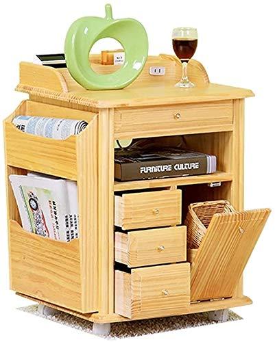 PingFanMi Tabla lado del extremo de Noche Coffee Corner tabla, de madera de pino Revista Periódico de almacenamiento en rack gabinete Librerías Tabla