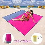 BETECK Alfombras de Playa, 210x200CM Manta de Picnic Impermeable con 4 Estaca Fijo para Jardín Parque Piscina Acampada Viaje al Aire Libre (Rosa)