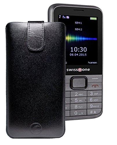 Swisstone BBM 320 / TTfone TT800 / Swisstone BBM 320C - Original Favory Tasche Leder Etui Handytasche Ledertasche Schutzhülle Case Hülle Lasche mit Rückzugfunktion* in Schwarz