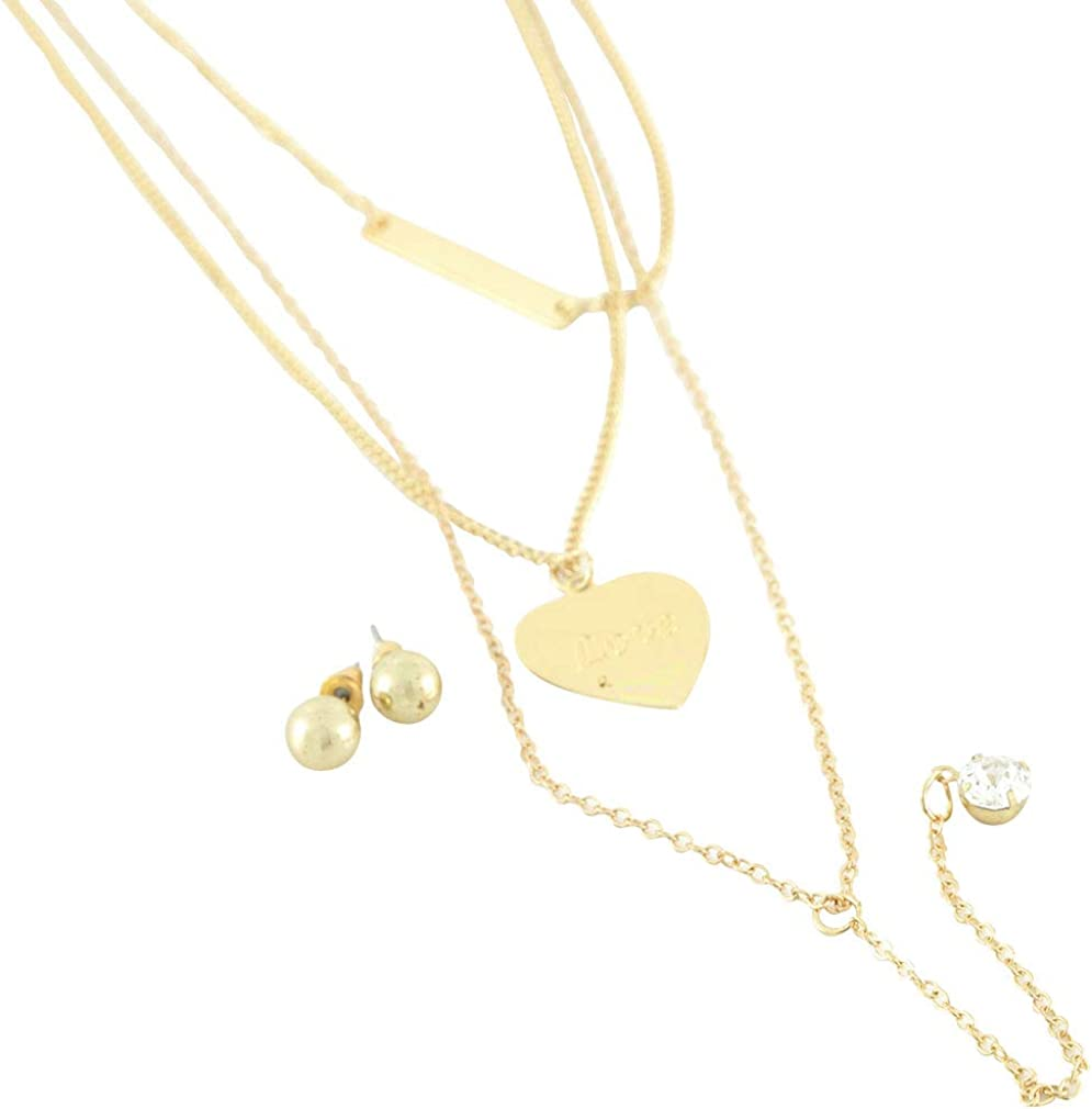 Items 4 U! Heart Gold Triple Necklace and Post Earrings Set - Heart Says Love