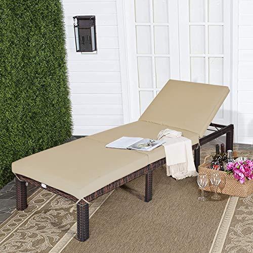 Tangkula Rattan Wicker Chaise Lounge Chair