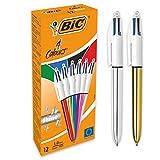 BIC 4 Colori Shine Penne A Sfera Con Punta Media (1.0 mm), Fusti Metallici Assortiti, Confezione da 12, Ottime per Prendere Appunti in Ufficio e a Casa