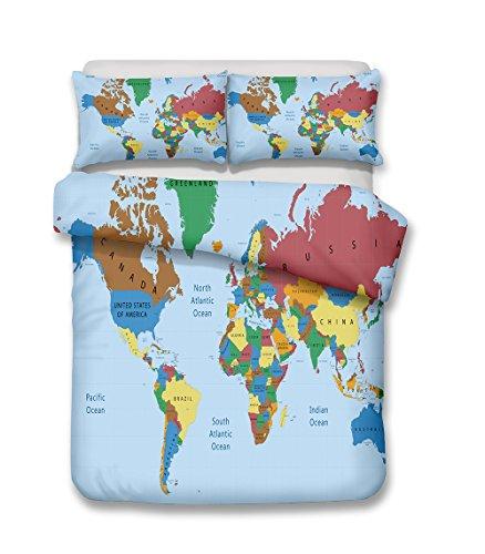 CHAOSE Juego de Sábanas Mapamundi Pintado Funda Nórdica de Algodón y poliéster 3 Piezas (1 Funda Nórdica + 2 Funda de Almohada) (HD World Map, (220x 240cm+2/75x50cm) - Cama de 150/160)