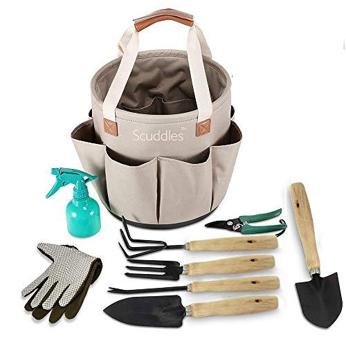 Scuddles Garden Tools Set - 9 Piece Heavy Duty Gardening Tools wIith, Ergonomic Hand Digging Weeder, Rake, Shovel, Trowel, Sprayer, Gloves Gift for Men & Women Upgraded 2020 Version