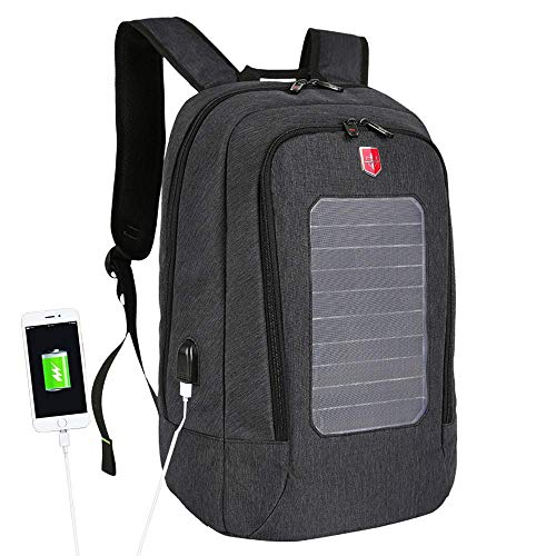 MXXQQ Solar Power Backpack, Solar Panel Rucksack with USB Charging Port, Unbreakable Scratch-Resistant Laptop Bag 16.7 Inches, for Women And Men,Black