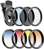 Apexel - Kit de filtros de Lente de cámara para teléfonos móviles (Azul, Amarillo, Naranja, Rojo) CPL, ND32 y filtros de Estrella para Nikon Canon Gopro iPhone y Todos los teléfonos