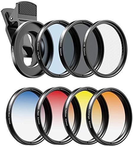 Apexel Filter-Kits für Handykameras, 52 mm, Farbverlaufsfilter (Blau, Gelb, Orange, Rot), CPL, ND32 und Sternfilter für Nikon, Canon, GoPro, iPhone und alle Handys