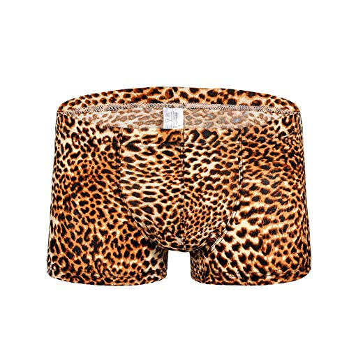 Swbreety Men's Leopard Underwear Underpants No Ride Up Boxer Briefs Yellow
