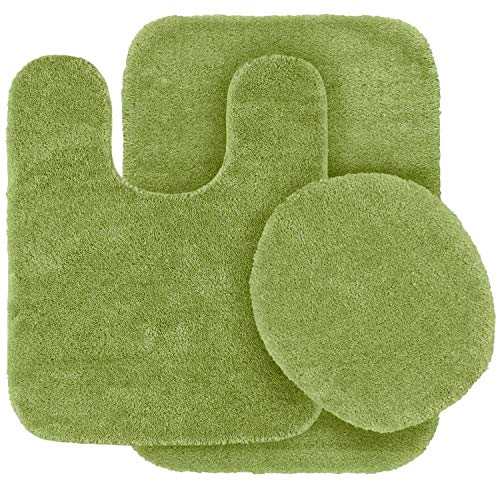 3pc Solid Non Slip Soft Bath Rug Set for Bathroom U-Shaped Contour Rug, Mat and Toilet Lid Cover New# Angela (Lime Green)