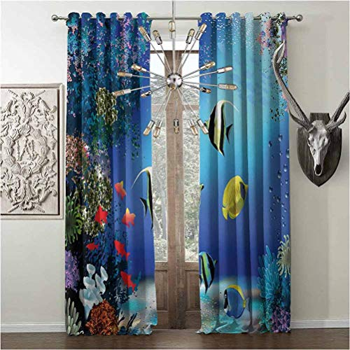 Grommet Window Curtains, Underwater Energy Efficiency Print, Thermal Insulated Treatment, W120 x L96 Inch, Blue, Tropical Undersea with Colorful Fishes Swimming in The Ocean Coral Reefs Artsy Image,