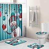 Hamkaw Merry Christmas Shower Curtain Sets, 4 Pcs Xmas Shower Curtain/Non-Slip Bathroom Rugs/Lid Toilet Cover/Bath Mat, Funny Santa Claus Christmas Tree Elk Snowman Carpet Bathroom Decor