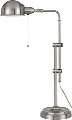 Cal Lighting BO-2441DK-BS 60W Corby Pharmacy Desk lamp with Pull Chain Switch, Brushed Steel