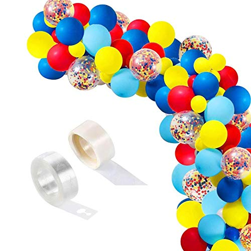 Kelfara Carnival Circus Balloons Garland Kit Arch, 100pcs 12 inch Red Blue Yellow Latex Balloons and Rainbow Multicolor Pre-Filled Confetti Balloon for Carnival Baby Shower Wedding Birthday Party Background Decorations