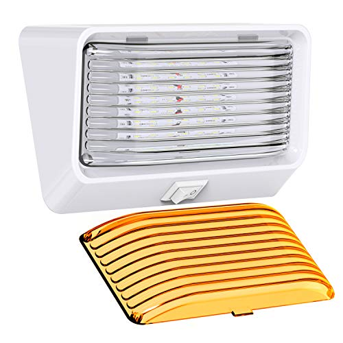 Leisure LED RV Exterior Porch Utility Light with Switch - 12v 280 Lumen Lighting Fixture. Replacement Lighting for RVs, Trailers, Campers, 5th Wheels. White Base, Clear and Amber Lens (White, 1-Pack)