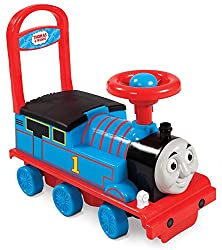 Colourful 3D Thomas face Fun squeaker feature Seat opens for storage Backrest for support when riding or walking Front and rear anti-tip feature