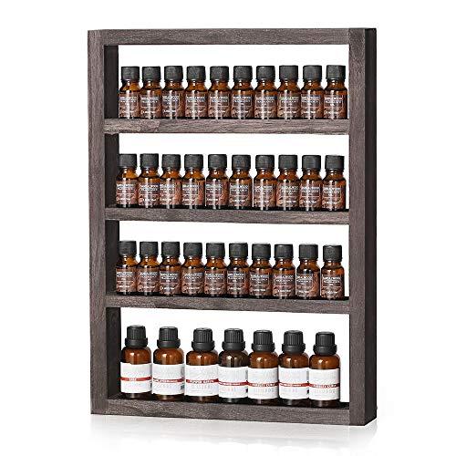 LIANTRAL Essential Oil Storage, Wall Mounted Wooden Display Shelf Rack for Essential Oils & Nail Polish, Espresso