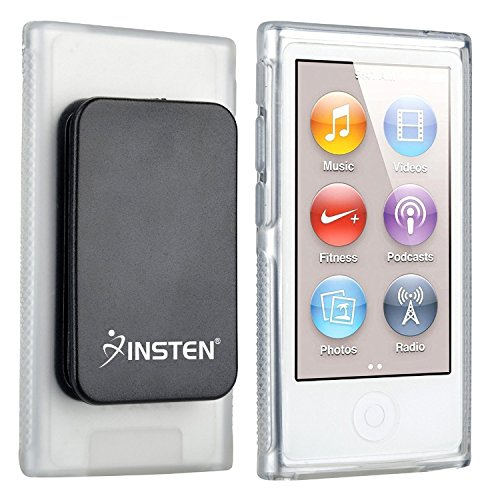 Insten Compatible with iPod Nano 7th Generation Clear TPU Rubber Skin Case with Belt Clip