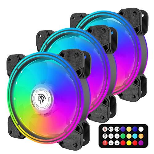 REDSTORM Ventilador para Ordenador 120 mm 3 * 120 mm LED RGB,Controlador y Mando a Distancia, diseño de Ventilador silencioso Reforzado Regalo para Novio y Esposo