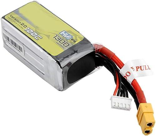 Dilwe 15.2V Batterie LiPo, Batterie LiPo Rechargeable de 1300mAh 100C pour Drone de Course