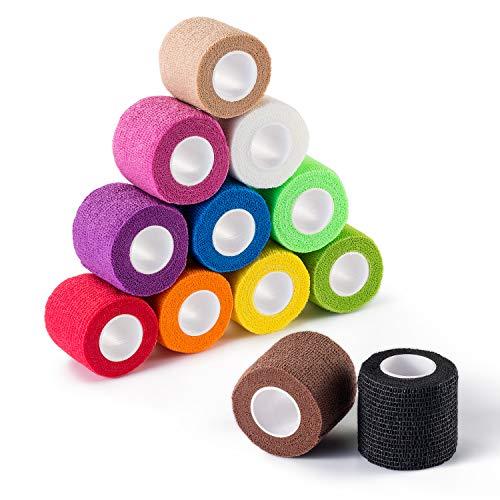 "Self Adherent Wrap Cohesive Bandages,Athletic Elastic Cohesive Bandage for Sports Injury,Ankle, Knee & Wrist,Ankle Sprains & Swelling,12-Pack, 2"" x 5 Yards"