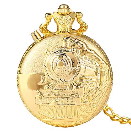 Zarte arabische Ziffern Zifferblatt mit LED-Funktion, Taschenuhr für Herren, Retro Dampf Auto Muster Cover Taschenuhren für Frauen, Praktische Gold Rough Chain Anhänger Uhr für Teenager