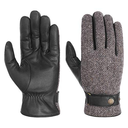 Stetson Herringbone Wool Lederhandschuhe Handschuhe Herrenhandschuhe Fingerhandschuhe Herren - mit Futter, Futter Herbst-Winter - 9 1/2 HS schwarz-grau