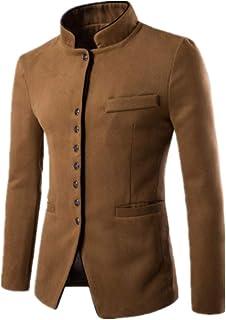 Men's Vintage Blazer Chinese Style Long Sleeve Business Casual Stand Collar Windbreaker Blazer Slim Fit Blazer Jacket