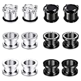 Longbeauty 12PCS CZ Gems Ear Tunnels Plugs Gauges Stainless Steel Expander Stretcher Piercings 0g
