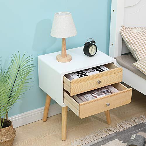 Sarah (Lot de 1) Table de Chevet avec 2 tiroirs, Table d'appoint, Table de Nuit, Petites Tables Basses, 42×32×50 cm, Blanc-Bois