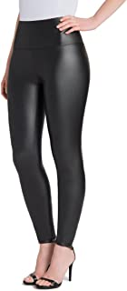 Plus Size Faux Leather Leggings Womens High Waisted Leather Pants Stretchable Tummy Control Black Leggings